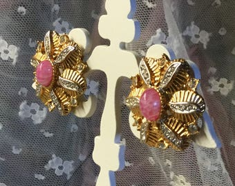 Sweet Elegant Signed D'Orlan Flower Themed Pink Lucite Gold Tone Clear Rhinestone Earrings Clip On 1970's 1980's Day To Evening Wear