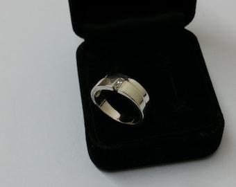 17.8 mm silver ring 925 2 Crystal stones SR310