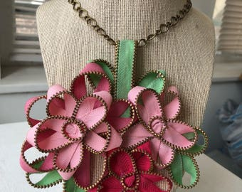 Pink and Red Vintage Zipper Flower Necklace
