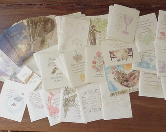 Rummage Sale Box-winter holiday cards, jane austen, gratitude, bookmarks, tags and more