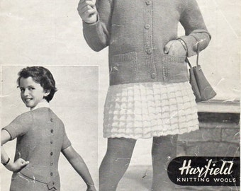 girls jacket sweater skirt knitting pattern pdf 3ply 4ply cardigan jumper skirt Vintage 50s 22-28 inch Instant Download