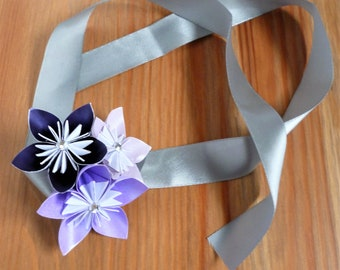 Wrist corsage, origami corsage, paper flower corsage, wedding, prom, purple, origami flowers, paper flowers