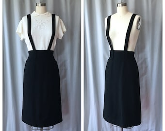 Vintage 1940s Black Wool Suspender Pencil Skirt w Pockets / High Waisted / 25 Waist / XS