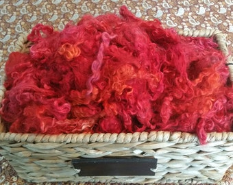Hand Dyed Mohair Locks and Fleece 1 oz. **Flaming Red**