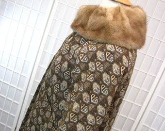 1960s Tribal Tapestry Coat with Mink Collar .....size. Large