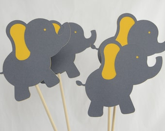 Elephant Centerpiece, Elephant Theme, Elephant Birthday, Elephant Baby Shower, Gray and Dark Yellow, Set of 4 Elephant