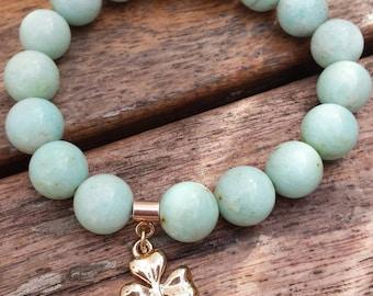 Green Chrysocolla and a vermeil clover bracelet