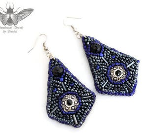 Embroidered earrings, black and blue ultramarine