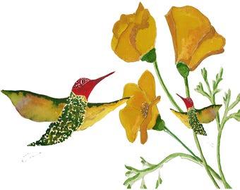 Annas Hummingbird w/Babies Card~Custom Hummingbird Card~Hummer Lover Card~Mother's Day Hummingbird Card~Custom Hummer Card for MOM