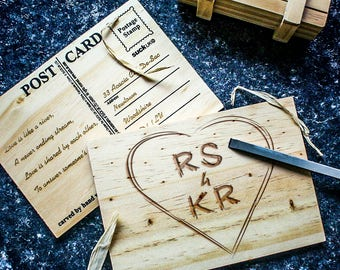 Personalised Carved Heart Postcard