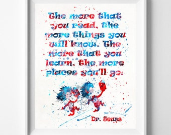 Dr Seuss Poster, Dr Seuss Quote, Doctor Seuss, Doctor Seuss Print, Baby Room Wall Art, Nursery Decor, Type 5, Fathers Day Gift
