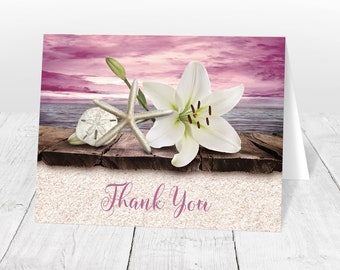 Beach Thank You Cards - Lily Seashells Sand Magenta Plum Pink Purple Rustic Wood Dock - Seaside Water Tropical - Printed Cards