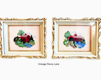 Vintage Framed Needlepoint Embroidery Wall Art