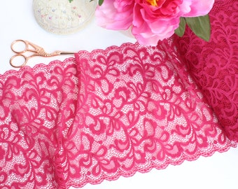 "1 m (1.09 yd) of Stretch lace - Deep Pink - 21 cm (8 1/2"") Wide"