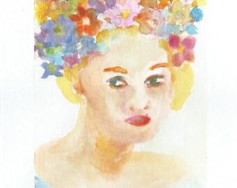 Original Watercolor Portrait Painting/ Illustration- Floral Girl