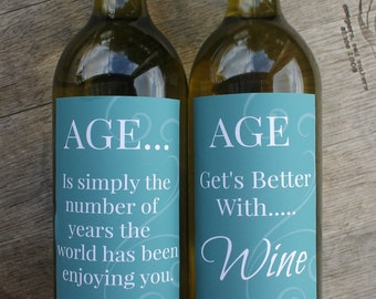 Aged Printable Wine Bottle Labels
