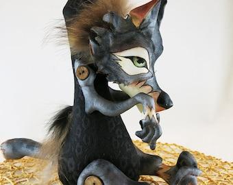 Gray wolf boy, wolf handmade doll, soft toy, wolf stuffed animal, nursery room decoration interior wolf doll, woodland animal,soft sculpture
