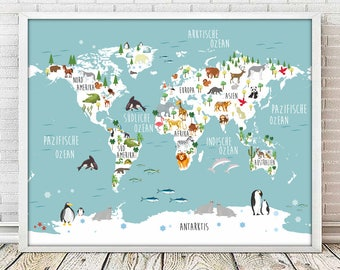 Kids world map etsy german nursery map nursery map print animal nursery printanimal print world gumiabroncs Image collections