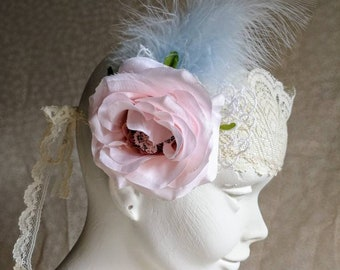 Shabby chic bohemian bridal headband. Blue feathered headpiece. Bohemian flower wedding headpiece in blue and pink. Handmade wedding.