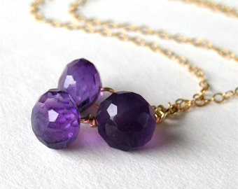 Amethyst Cluster Necklace, Delicate Gold Chain, Purple Onion Briolettes, Gemstone Cluster Necklace, Handmade