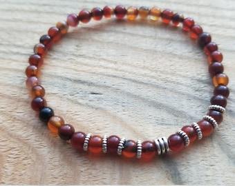 Fire red agate gemstone 4mm beaded strech bracelet