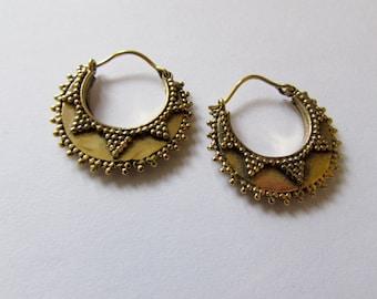 Small Mandala Brass Dotted Hoop Earrings Tribal Earrings Boho Festival Jewellery Free UK Delivery Gift Boxed BG3