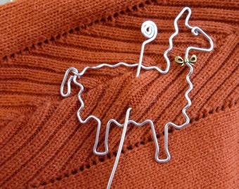 LAMA SCHAL PIN mit Bogen Wirework Alpaka Schal pin