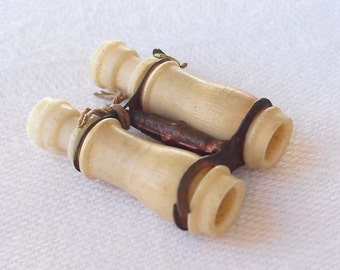 Rare 1930s Stanhope Risque Binoculars.  Erotic Peep Theme.  Antique Bone Nudes Charm.