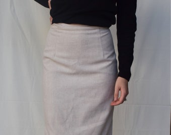 Vintage Natural Linen High Waisted Straight Midi Skirt