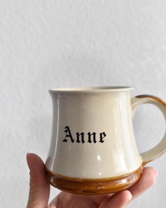 vintage brown tan ceramic Anne coffee mug