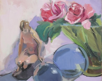 impressionism , oil painting , still life , figure , colorful painting  , figurine , original , pink painting , 12 x 12 inches , pink roses