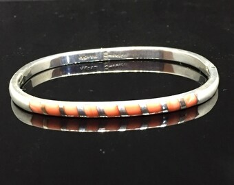 Taxco Mexico 925 Sterling Inlaid Glass Bangle