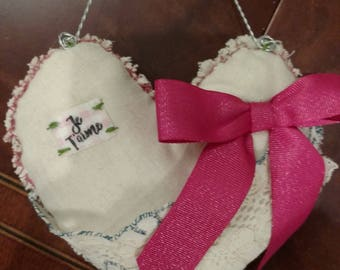 Shabby chic stuffed hanging heart, hand made with love