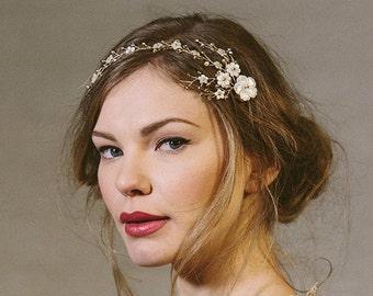 Pearl flower wedding hair vine, pearl flower bridal hair vine, gold bridal hair vine, gold flower hairvine comb, gold bridal hair -Astrid