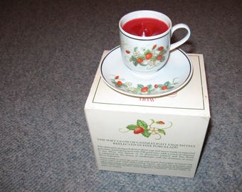 1978 Avon Strawberry Porcelain Demi Cup / Strawberry Fragrance Candlette Dinner Wear Cup And Saucer Candle Original Box Strawberry Lover