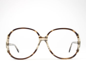 Big 80s Glasses | Vintage Eyeglasses | 1980s Oversized Glasses Frames | Brown Clear Eyeglass Frame - Regal