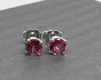 14K White Gold Natural Pink Topaz Stud Earrings