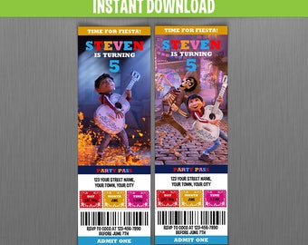 Disney Coco Birthday Ticket Invitations (Set 2) - Instant Download and Edit with Adobe Reader - Coco Invitation - Day of the Dead Party