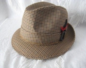 Men's BrownPlaid Fedora Vintage Hat