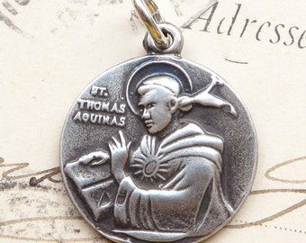 St Thomas Aquinas Medal - Patron of students, schools and against storms - Sterling Silver Antique Replica