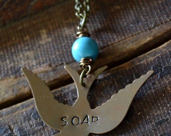 Soar Necklace - Hand Stamped Necklace - Soaring Sparrow Necklace - Turquoise - Wild Bird Necklace - Boho Necklace - Boho Style