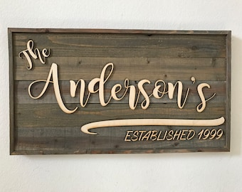 Personalized Customized Wood Family Established sign made from faux Barn Wood Barnwood | family name | Established date sign gift