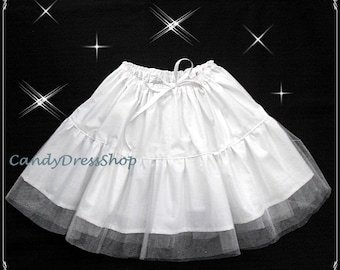 Girls Petticoat, Toddler Petticoat, Cotton with tulle Petticoat, Girls white Petticoat, Childs Underskirt, Under Dress, White Pettiskirt