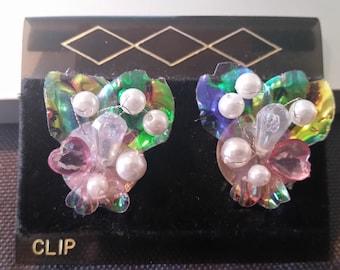 Vintage Handmade Beaded Bouquet clip on earrings