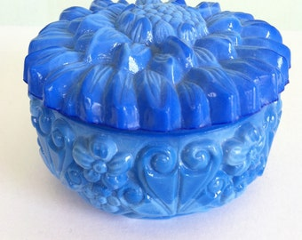 Vintage Blue malachite Peony Art Deco Czech Bohemian trinket box dresser box jewelry box vanity decor