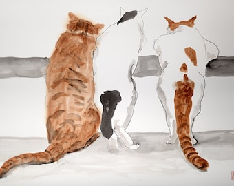 Curious cats- original ink and watercolor mixed technique