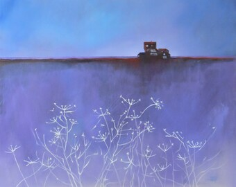 "Blue Painting. 24"" x 20"" .""Walberswick Remembered""  Framed Art. Original Wall Art of the Suffolk Coast."