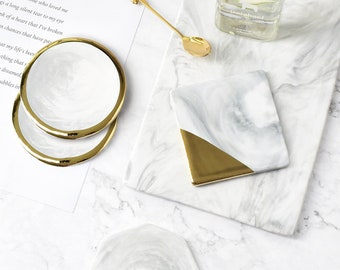 Marble Coaster, Grain Gold Plating Ceramic Coaster, Marble Finish Coaster with Gold Details,  Set of 4