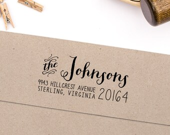 "Return Address Stamp, Housewarming Gift, Script Address Stamp, DIYer Gift, Wedding Gift. Custom Address Stamp 2.5"" x 1"" - A12"