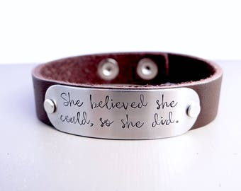 She Believed She Could So She Did Leather Cuff Bracelet.  Inspiration, Inspirational Jewelry, Brown Leather Cuff Bracelet for Her.